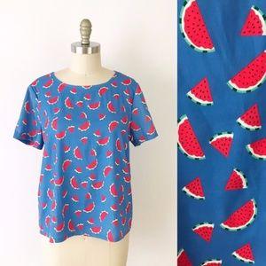 Modcloth Watermelon Printed Blouse Unique Summer